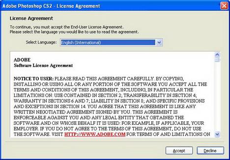 Далее выбираете язык на котором будете читать лицензионное соглашение Photo